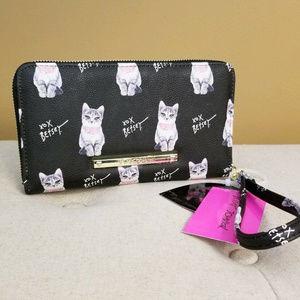 Grey Cat Wallet Betsey Johnson Black Wristlet NEW